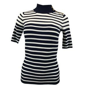Maison Jules striped mock neck knit top M